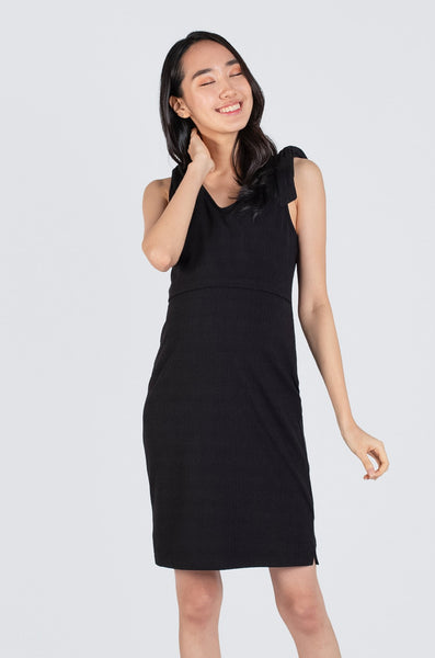 Peyton Ribbon Nursing Dress In Black