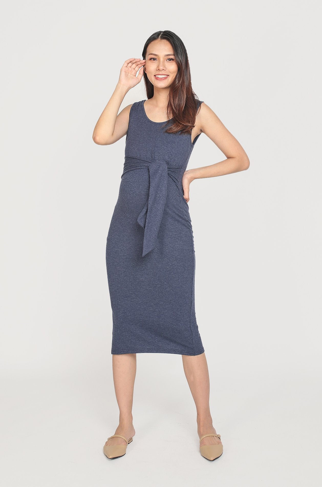 Brooke Shimmer Ribbon Nursing Dress In Navy Nursing Wear Jump Eat Cry