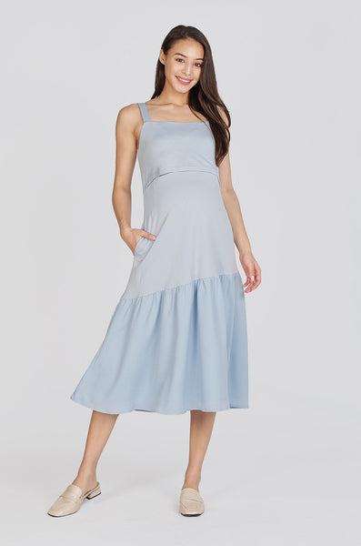 Hannah Flare Hem Nursing Dress In Baby Blue