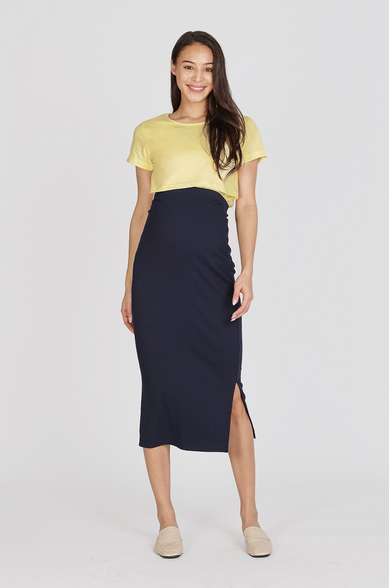 Dayne Ribbed Maternity Skirt In Navy Nursing Wear Jump Eat Cry