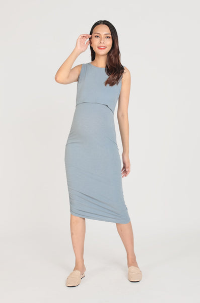 Bowie Side Ruched Nursing Dress In Sky Blue
