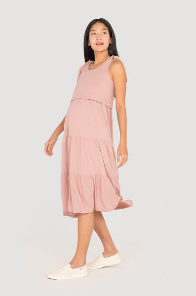 Weylie Ribbon Tiered Nursing Dress In Light Pink