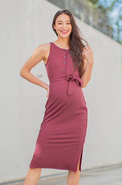 Zoya Knitted Knot Nursing Dress In Maroon