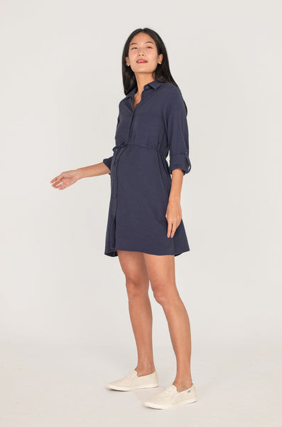 Cory Button Down Nursing Dress In Navy