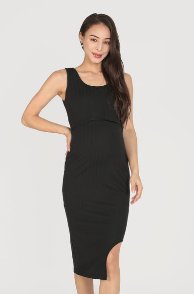 Reika Curved Hem Nursing Dress In Black