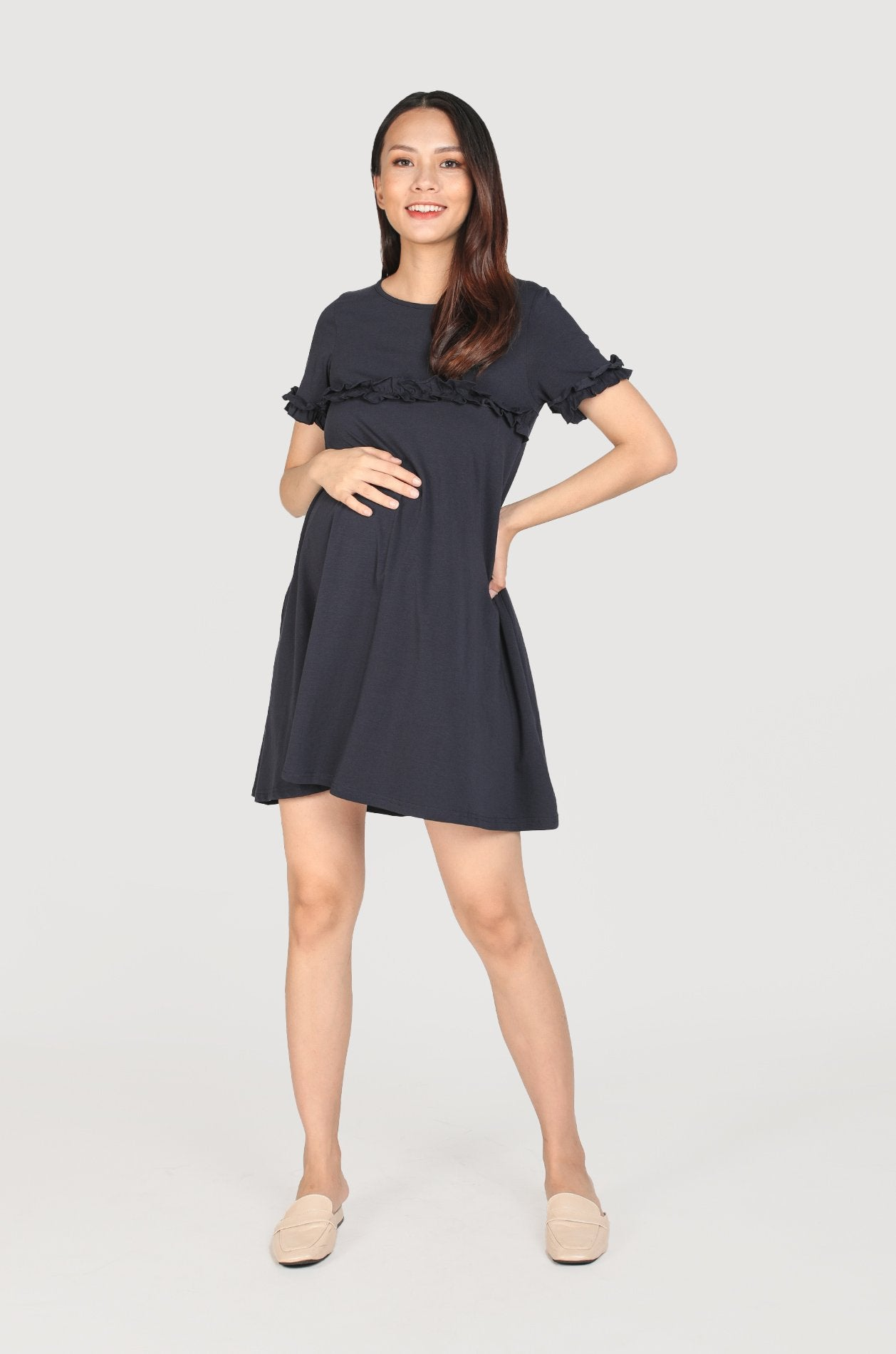 Briana Frills Flare Nursing Dress In Navy Nursing Wear Jump Eat Cry