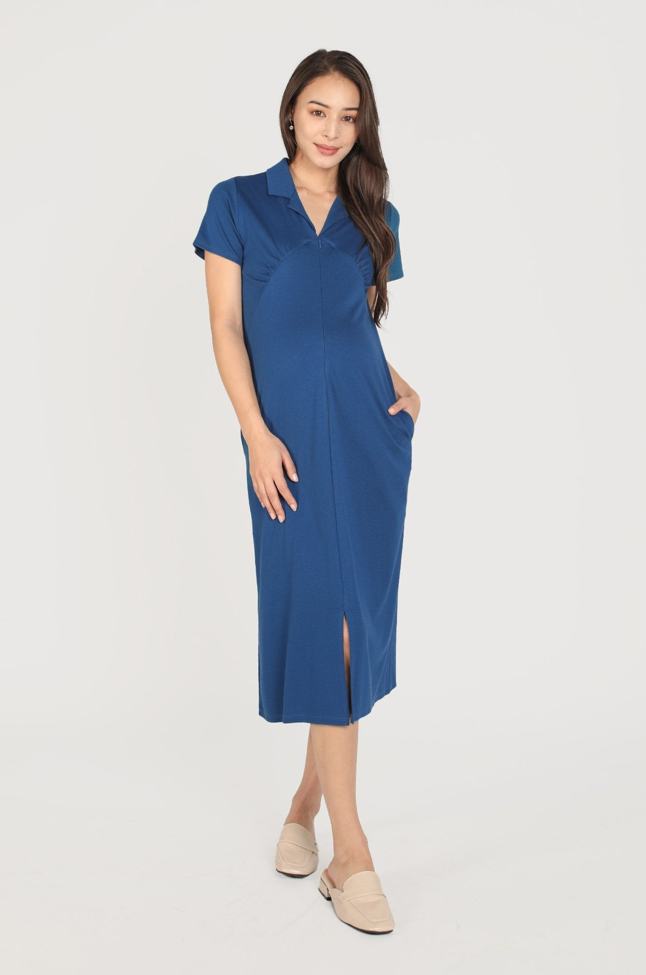 Delilah Maxi Nursing Dress In Teal Nursing Wear Jump Eat Cry