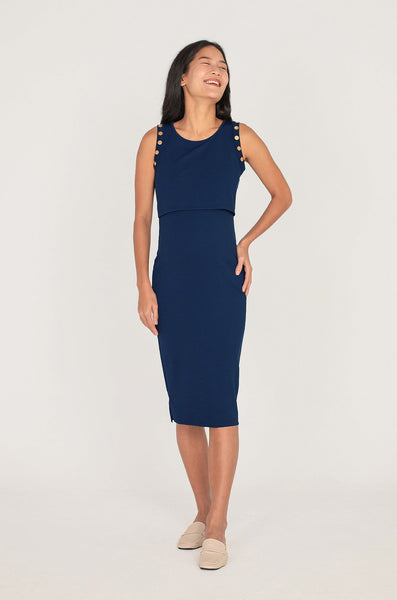 Caden Button Nursing Dress In Navy