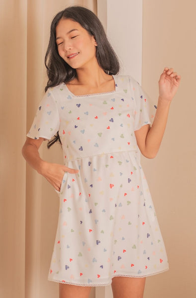 Bondi Hearts Printed Nursing Dress