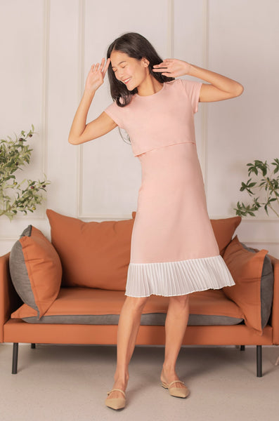 Karla Pleated Nursing Dress In Baby Pink