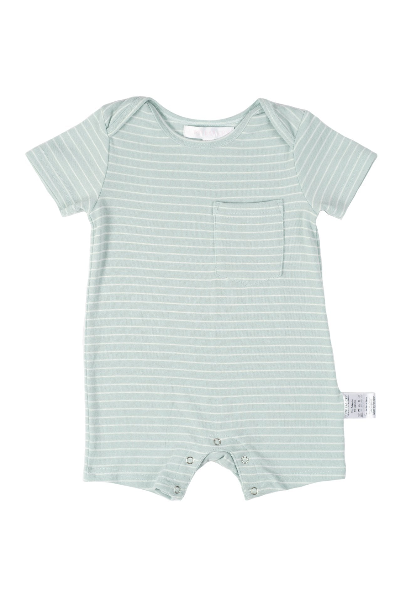Taffy Striped Boy Romper in Light Turquoise  by Jump Eat Cry - Maternity and nursing wear