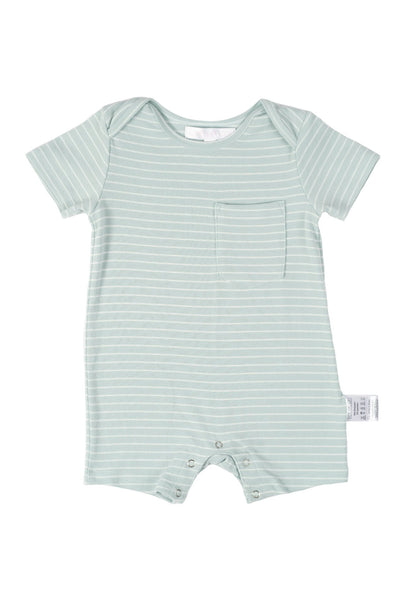 Taffy Striped Boy Romper in Light Turquoise