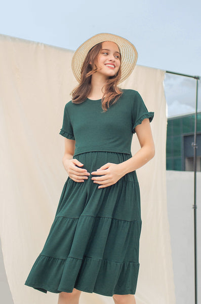 Naya Tiered Nursing Dress In Emerald Green