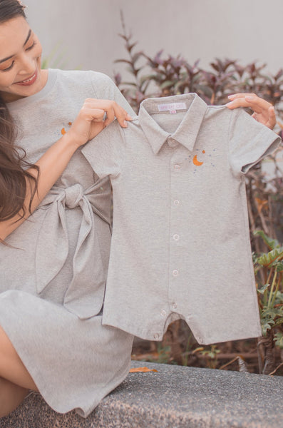 "Becca ""Moon n Star"" Embroidered Romper In Grey"