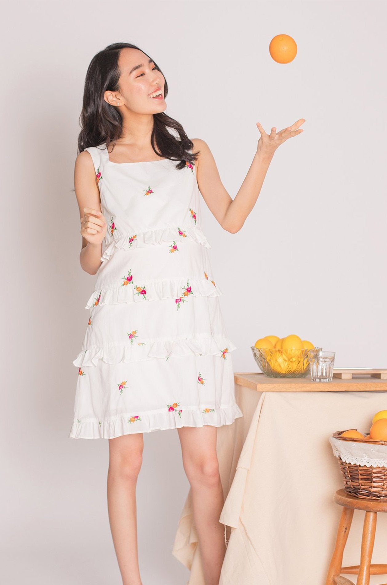 Sandrine Floral Embroidered Nursing Dress Nursing Wear Jump Eat Cry
