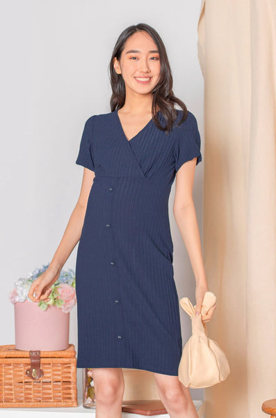 Alessa Puffed Sleeved Knit Nursing Dress In Navy