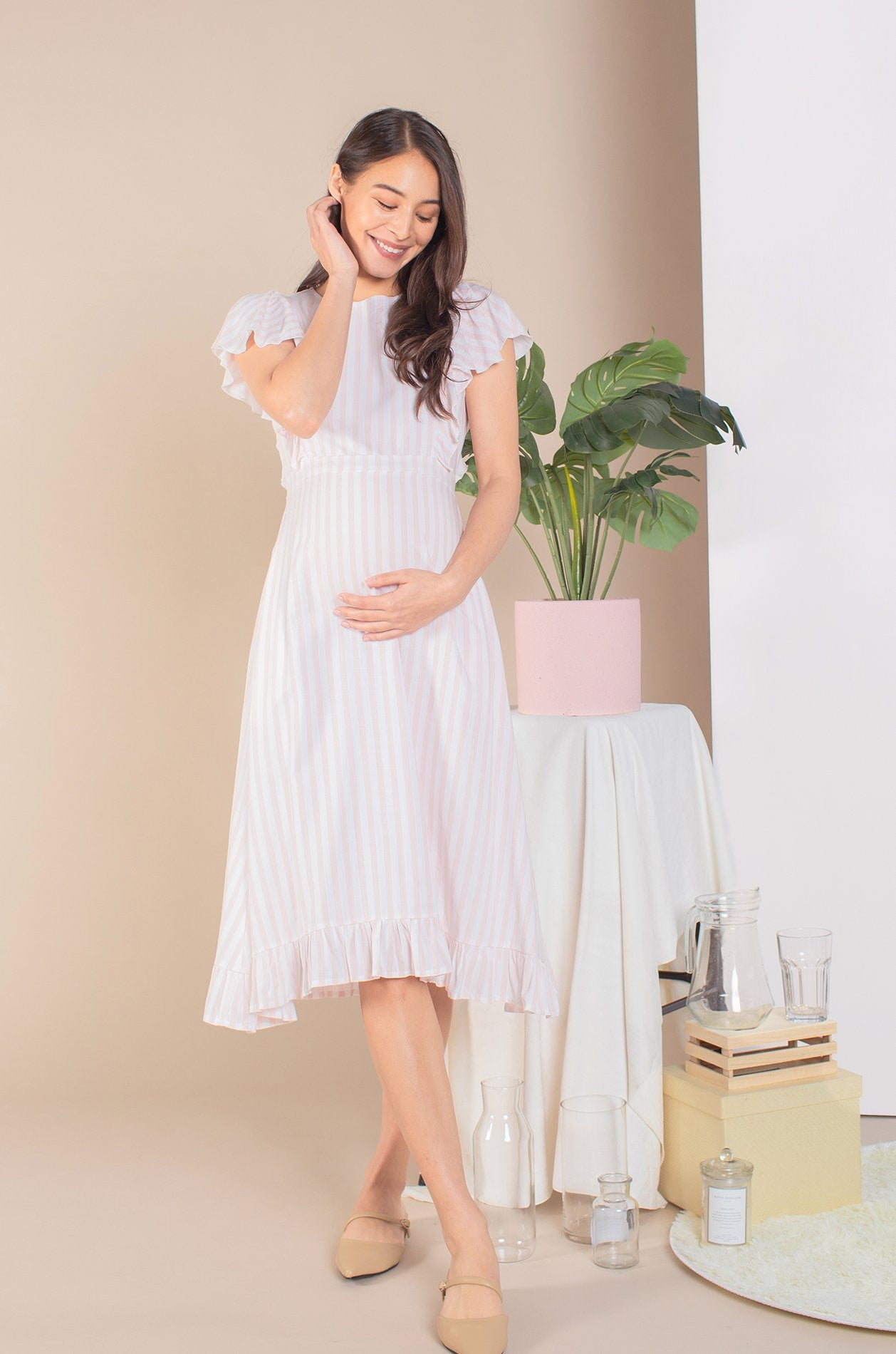 Alora Frills Nursing Dress In Pink Stripes Nursing Wear Jump Eat Cry