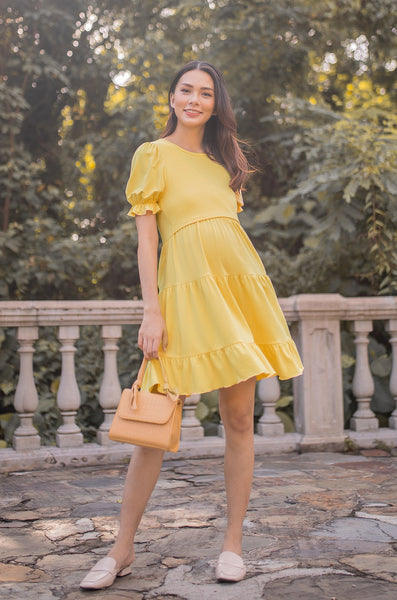 Sammy Bubble Tiered Nursing Dress In Sunshine Yellow