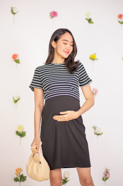 Selene Striped Nursing dress In Black