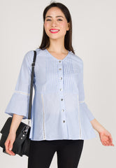 Mothercot Cotton Pinstripe Nursing Top in Blue  by JumpEatCry - Maternity and nursing wear