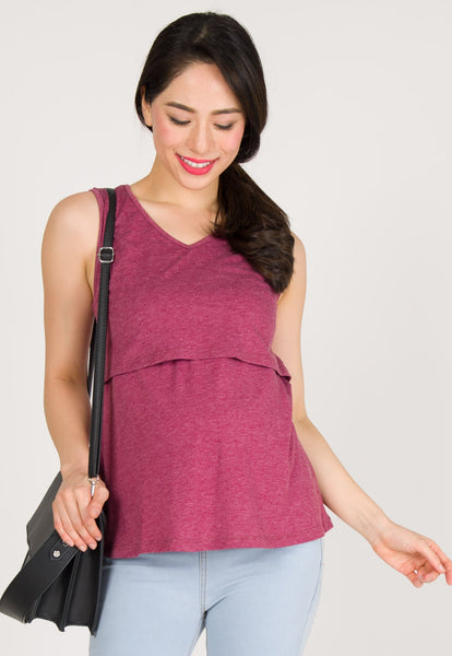 V Neckline Nursing Top in Purple