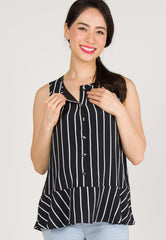 Sleeveless Button Down Nursing Top in Black Nursing Wear Mothercot