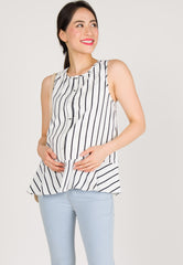 Sleeveless Button Down Nursing Top in White  by Jump Eat Cry - Maternity and nursing wear