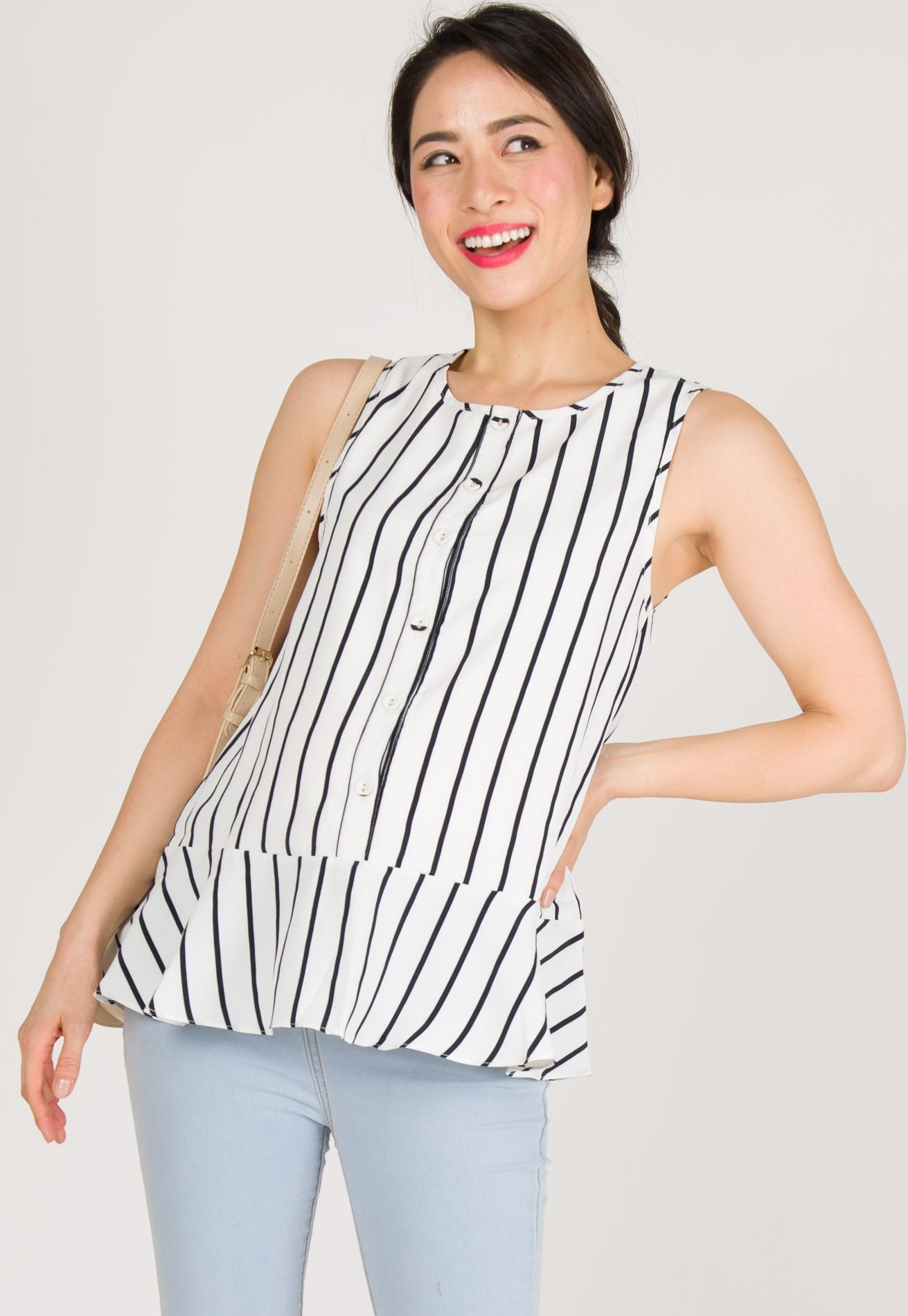 adf3f44d4487f1 Sleeveless Button Down Nursing Top in White – Jump Eat Cry