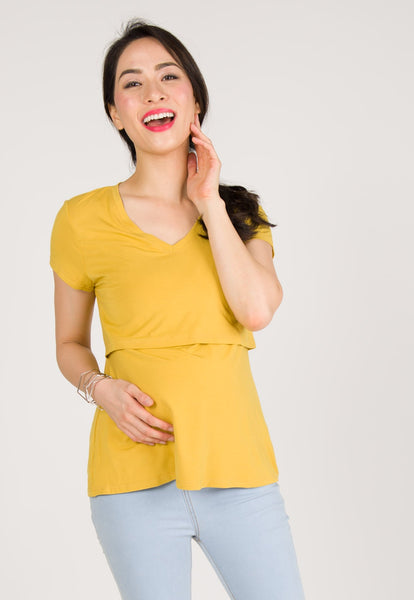 Cerys Fitted Nursing Tee in Yellow