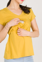 Cerys Fitted Nursing Tee in Yellow  by Jump Eat Cry - Maternity and nursing wear
