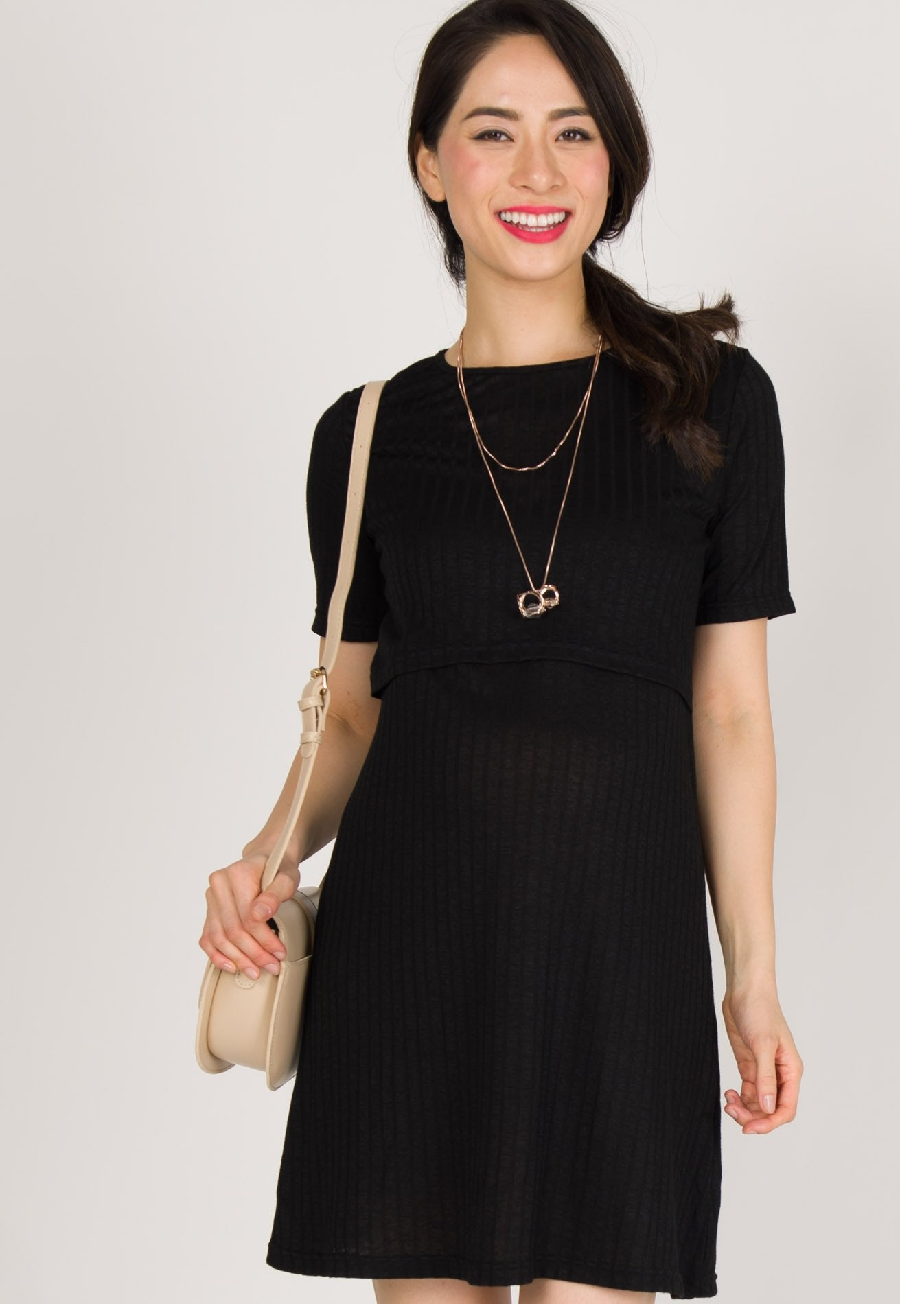 Orion Ribbed Knitted Nursing Dress in Black Nursing Wear Mothercot