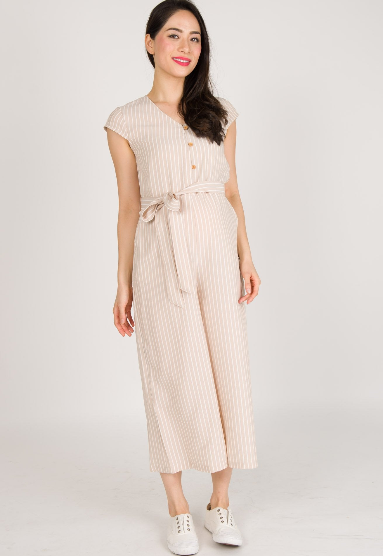Mothercot Fleur Button Down Nursing Jumpsuit in Nude  by JumpEatCry - Maternity and nursing wear