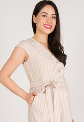 Fleur Button Down Nursing Jumpsuit in Nude  by Jump Eat Cry - Maternity and nursing wear