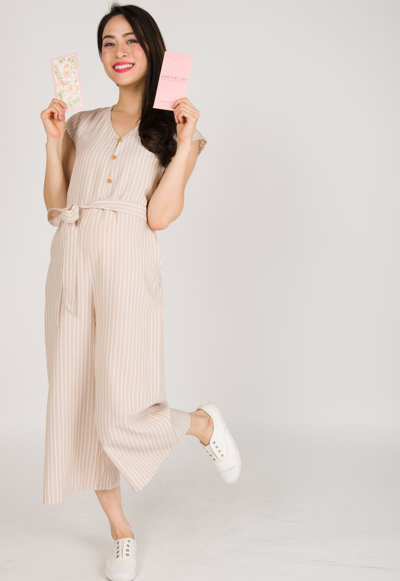 bbb87d0a12ef26 ... Fleur Button Down Nursing Jumpsuit in Nude by JumpEatCry - Maternity  and nursing wear ...
