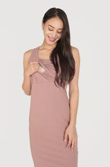 Reika Curved Hem Nursing Dress In Dark Pink Nursing Wear Jump Eat Cry