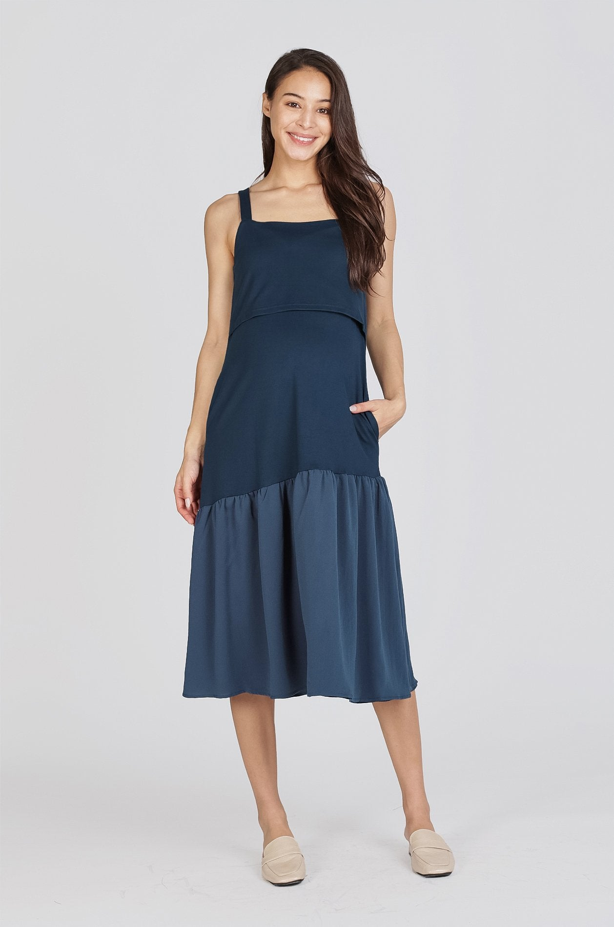 Hannah Flare Hem Nursing Dress In Teal Nursing Wear Jump Eat Cry
