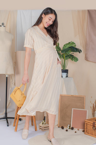 Remi Asymmetrical Nursing Dress In Sunset Stripes