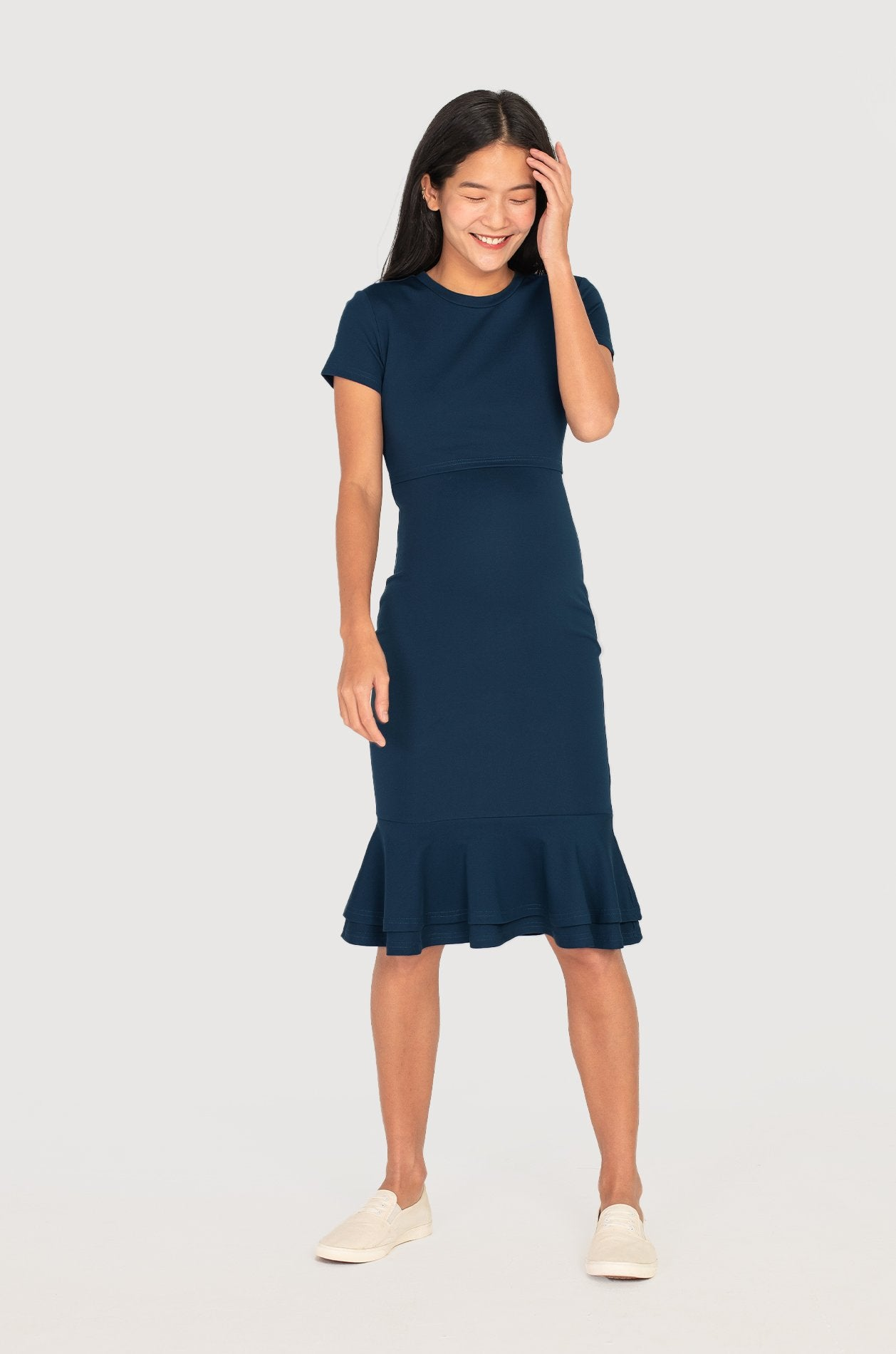 Mermaid Hem Bodycon Nursing Dress in Navy Nursing Wear Jump Eat Cry