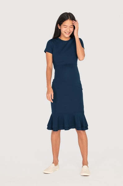 Mermaid Hem Bodycon Nursing Dress in Navy