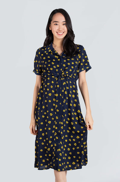 Callie Floral Print Nursing Dress In Navy