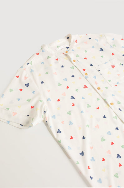 Bondi Hearts Printed Button Down Men Shirt