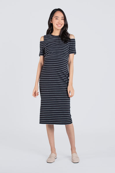 Raelyn Striped Cold Shoulder Nursing Dress In Black