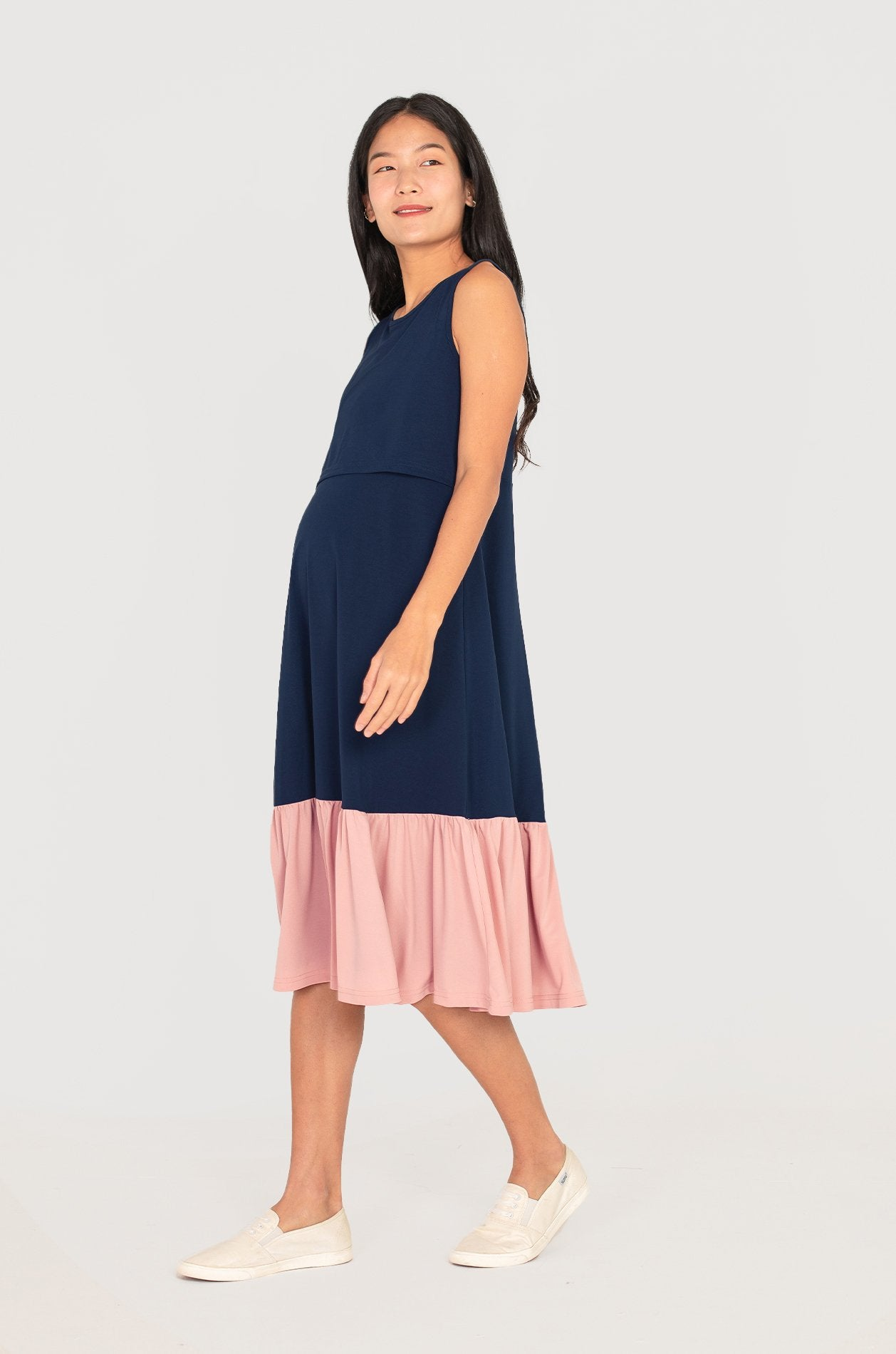 Cher Contrasted Midi Nursing Dress In Navy Nursing Wear Jump Eat Cry