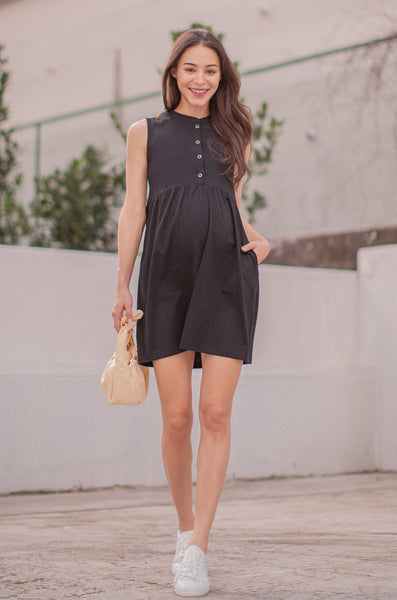 Kayley Flare Buttoned Nursing Dress In Black