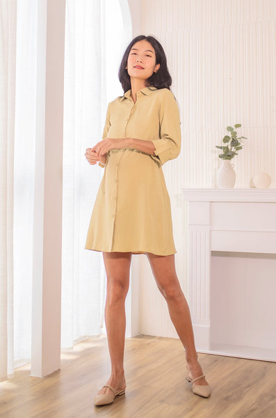 Cory Button Down Nursing Dress In Sand