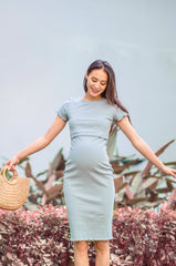 Elena Ribbed Nursing Dress In Dusty Blue Nursing Wear Jump Eat Cry