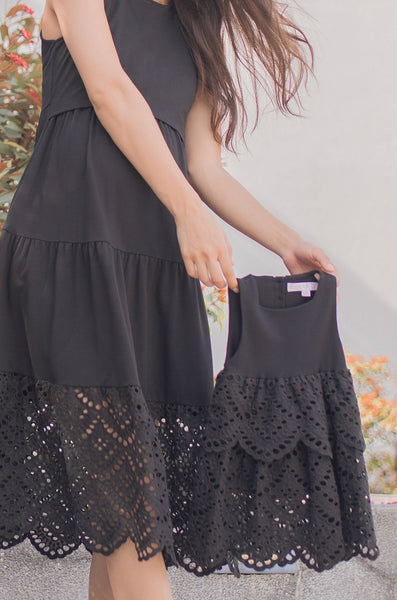 Madison Eyelet Girl Dress In Black