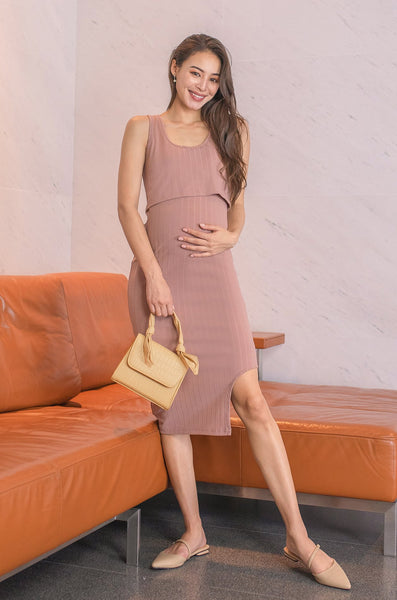 Reika Curved Hem Nursing Dress In Dark Pink