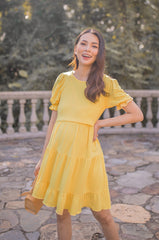 Sammy Bubble Tiered Nursing Dress In Sunshine Yellow Nursing Wear Jump Eat Cry