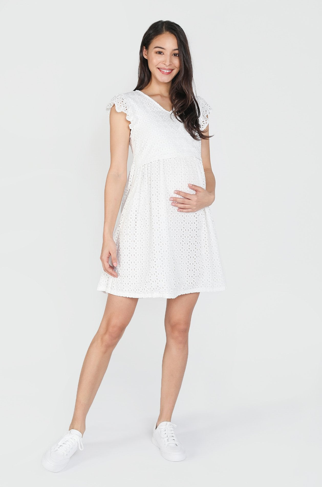 Ayu Lace Ruffle Nursing Dress Nursing Wear Jump Eat Cry